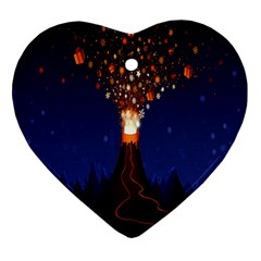 Christmas Volcano Heart Ornament (Two Sides)