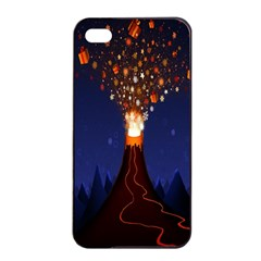 Christmas Volcano Apple iPhone 4/4s Seamless Case (Black)