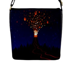 Christmas Volcano Flap Messenger Bag (l)