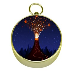 Christmas Volcano Gold Compasses