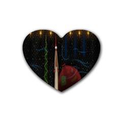 Christmas Xmas Bag Pattern Rubber Coaster (heart)