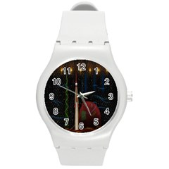 Christmas Xmas Bag Pattern Round Plastic Sport Watch (M)