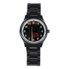 Christmas Xmas Bag Pattern Stainless Steel Round Watch
