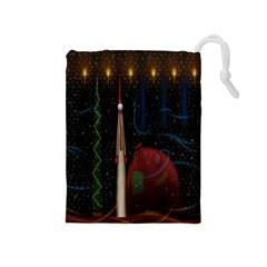 Christmas Xmas Bag Pattern Drawstring Pouches (medium)