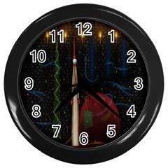 Christmas Xmas Bag Pattern Wall Clocks (Black)