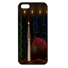 Christmas Xmas Bag Pattern Apple iPhone 5 Seamless Case (Black)