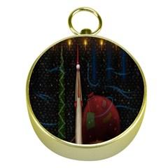 Christmas Xmas Bag Pattern Gold Compasses