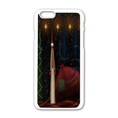 Christmas Xmas Bag Pattern Apple iPhone 6/6S White Enamel Case