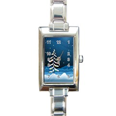 Christmas Xmas Fall Tree Rectangle Italian Charm Watch