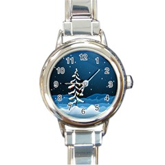 Christmas Xmas Fall Tree Round Italian Charm Watch