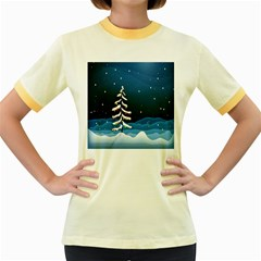Christmas Xmas Fall Tree Women s Fitted Ringer T-Shirts