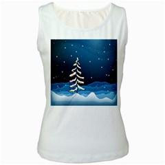 Christmas Xmas Fall Tree Women s White Tank Top