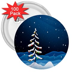 Christmas Xmas Fall Tree 3  Buttons (100 pack)