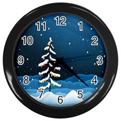 Christmas Xmas Fall Tree Wall Clocks (black)