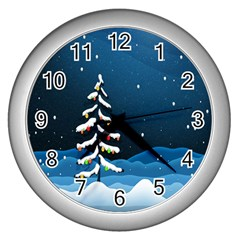Christmas Xmas Fall Tree Wall Clocks (Silver)