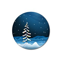 Christmas Xmas Fall Tree Magnet 3  (Round)