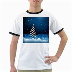 Christmas Xmas Fall Tree Ringer T-Shirts