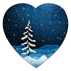 Christmas Xmas Fall Tree Jigsaw Puzzle (Heart)