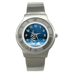 Christmas Xmas Fall Tree Stainless Steel Watch
