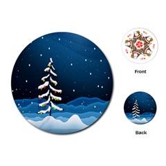 Christmas Xmas Fall Tree Playing Cards (Round)