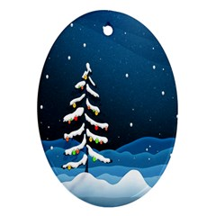Christmas Xmas Fall Tree Oval Ornament (Two Sides)