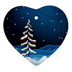 Christmas Xmas Fall Tree Heart Ornament (two Sides)