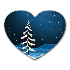 Christmas Xmas Fall Tree Heart Mousepads