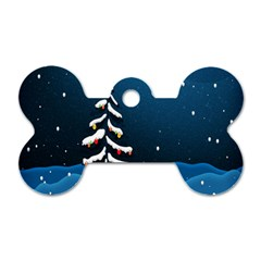 Christmas Xmas Fall Tree Dog Tag Bone (Two Sides)