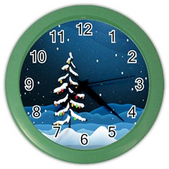 Christmas Xmas Fall Tree Color Wall Clocks
