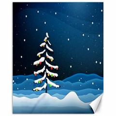 Christmas Xmas Fall Tree Canvas 11  x 14