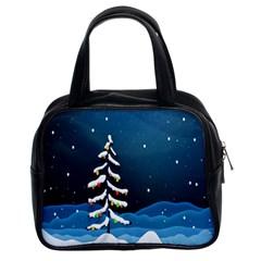 Christmas Xmas Fall Tree Classic Handbags (2 Sides)