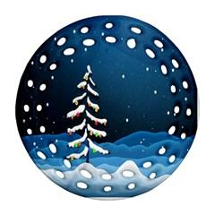 Christmas Xmas Fall Tree Round Filigree Ornament (Two Sides)