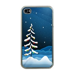 Christmas Xmas Fall Tree Apple iPhone 4 Case (Clear)