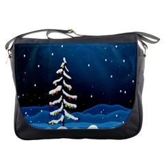 Christmas Xmas Fall Tree Messenger Bags