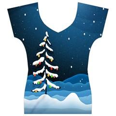 Christmas Xmas Fall Tree Women s V-Neck Cap Sleeve Top