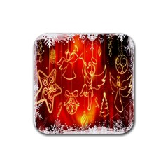 Christmas Widescreen Decoration Rubber Square Coaster (4 Pack)