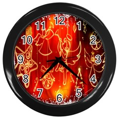 Christmas Widescreen Decoration Wall Clocks (Black)