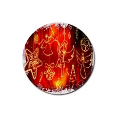 Christmas Widescreen Decoration Rubber Round Coaster (4 Pack)