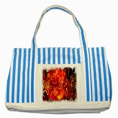 Christmas Widescreen Decoration Striped Blue Tote Bag