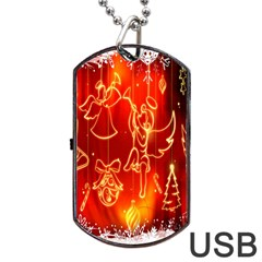 Christmas Widescreen Decoration Dog Tag USB Flash (One Side)