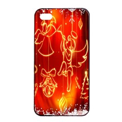 Christmas Widescreen Decoration Apple iPhone 4/4s Seamless Case (Black)