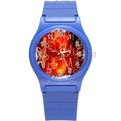 Christmas Widescreen Decoration Round Plastic Sport Watch (S)