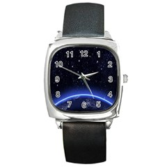 Christmas Xmas Night Pattern Square Metal Watch