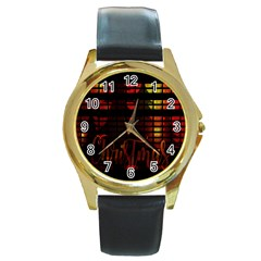 Christmas Advent Gloss Sparkle Round Gold Metal Watch