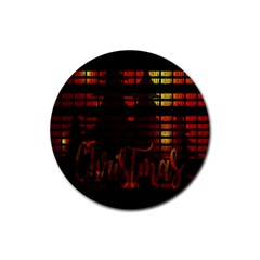 Christmas Advent Gloss Sparkle Rubber Round Coaster (4 pack)