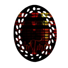 Christmas Advent Gloss Sparkle Oval Filigree Ornament (Two Sides)