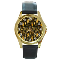 Christmas Background Round Gold Metal Watch