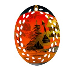 Christmas Bauble Oval Filigree Ornament (Two Sides)