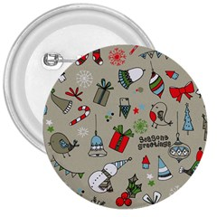 Christmas Xmas Pattern 3  Buttons