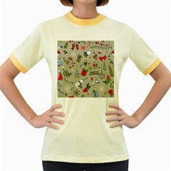 Christmas Xmas Pattern Women s Fitted Ringer T-Shirts